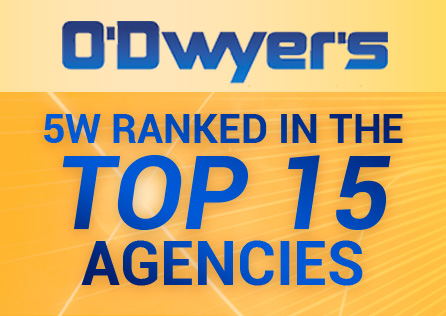 5W NAMED IN TOP 15 PR AGENCIES